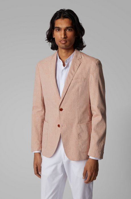 Veste Slim Fit en lin mélangé stretch, Orange