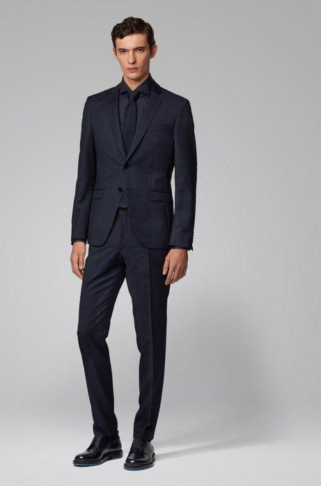 Extra-slim-fit suit in melange virgin wool, Dark Blue