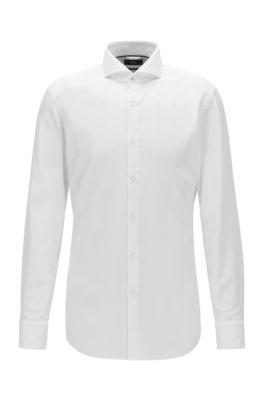Slim-fit overhemd van katoen met microstructuur, Wit