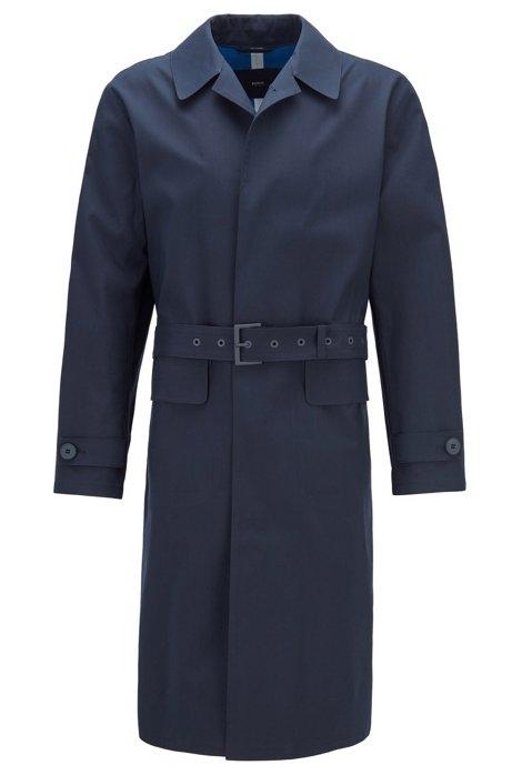 Relaxed-fit mantel van katoen met verdekte sluiting, Donkerblauw