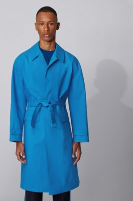 Relaxed-fit coat with concealed closure in cotton, Blue