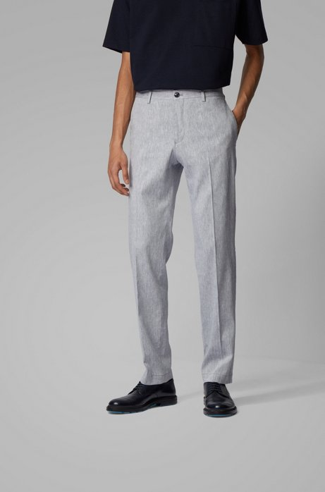 Slim-fit trousers in a linen blend, Grey