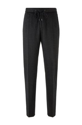 Pantaloni slim fit gessati in lana vergine tracciabile, Nero