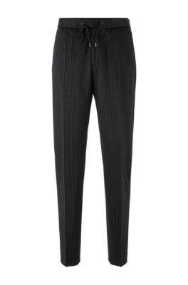 Pantalon Slim Fit en laine vierge traçable à rayures tennis, Noir