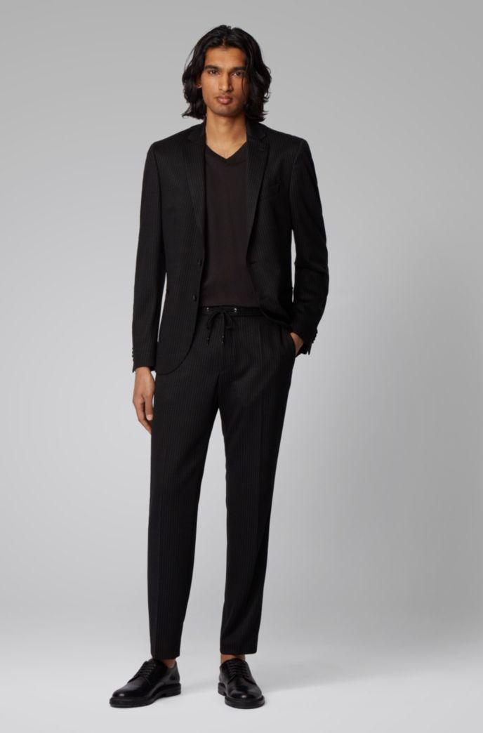 Pantalon Slim Fit en laine vierge traçable à rayures tennis