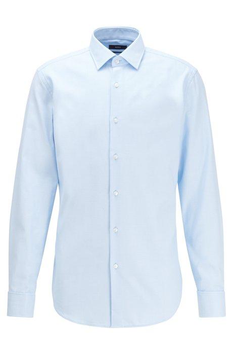 Strukturiertes Slim-Fit Hemd aus Baumwolle mit Umschlagmanschetten, Hellblau