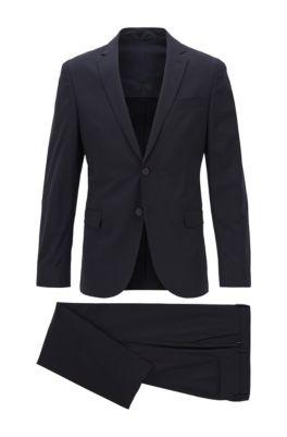 Slim-fit pak van een scheerwolmix met stretch, Donkerblauw