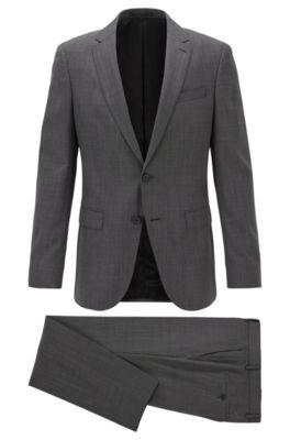 Fein gemusterter Slim-Fit Anzug aus nachverfolgbarer Schurwolle, Schwarz