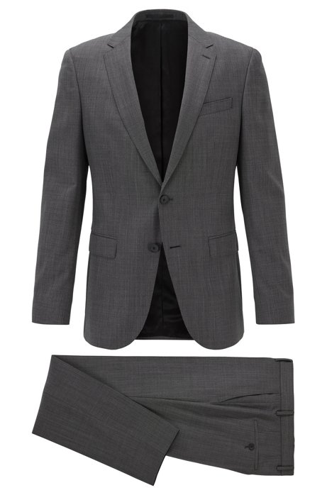 Slim-fit suit in micro-patterned traceable virgin wool, Black