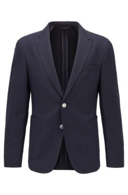 Slim-fit jacket in a virgin-wool blend, Dark Blue