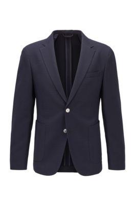 Veste Slim Fit en laine vierge mélangée, Bleu foncé