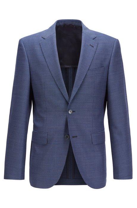 Chaqueta regular fit en lana virgen entretejida, Azul oscuro
