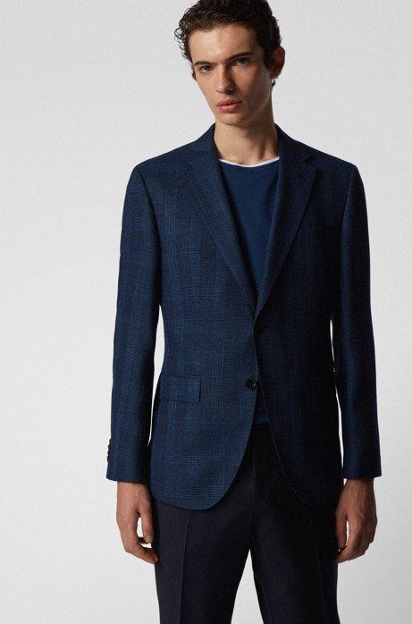 Veste Regular Fit à carreaux, avec coudières, Bleu foncé