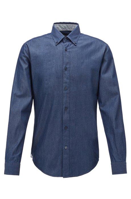 Chemise Slim Fit en twill de denim avec col à pointes boutonnées, Bleu foncé