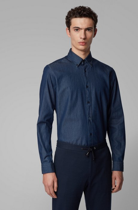 Slim-Fit Hemd aus Denim-Twill mit Button-Down-Kragen, Dunkelblau