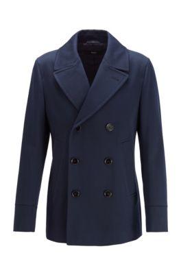 Manteau Slim Fit en coton déperlant, Bleu foncé