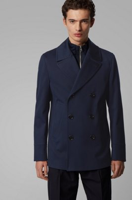 Slim-fit coat in water-repellent cotton, Light Blue