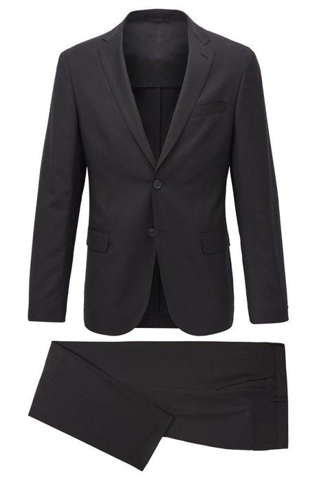 Slim-Fit Anzug aus elastischer Schurwolle mit dezentem Muster, Schwarz