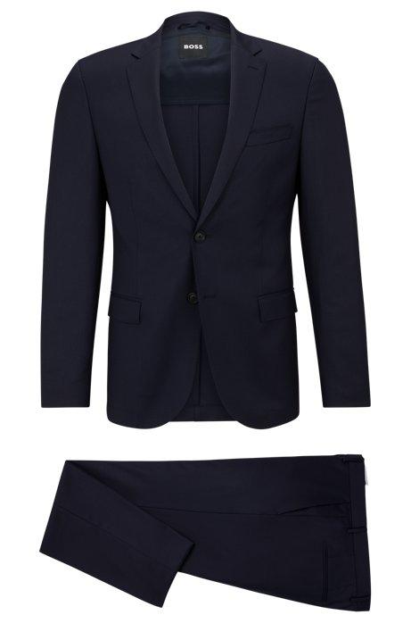 Slim-Fit Anzug aus elastischer Schurwolle mit dezentem Muster, Dunkelblau