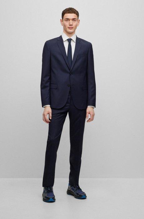 Micro-patterned slim-fit suit in stretch virgin wool, Dark Blue