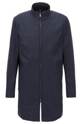 Manteau Slim Fit déperlant, à col montant, Bleu foncé