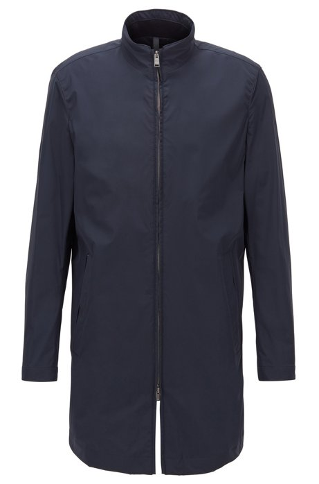 Slim-fit water-repellent coat with stand collar, Dark Blue