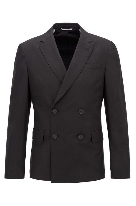 Slim-fit double-breasted jacket in cotton, Black