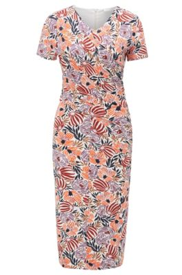 Floral-print jersey dress with asymmetric ruching, Patterned