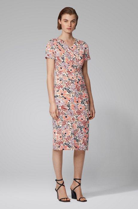 Kleid aus Stretch-Jersey mit asymmetrischer Raffung und Blumenprint, Gemustert