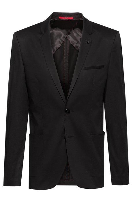 Veste en coton stretch Extra Slim Fit avec épingle de revers, Noir