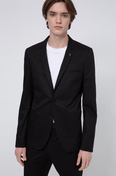 Americana extra slim fit de algodón elástico con broche en la solapa, Negro