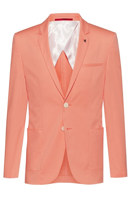 Veste en coton stretch Extra Slim Fit avec épingle de revers, Orange clair