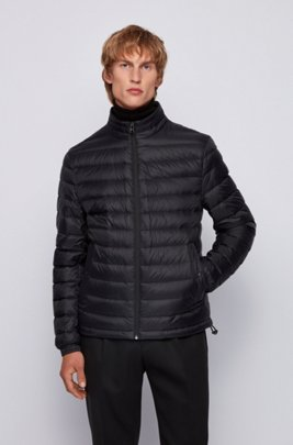 Packable down jacket in lightweight water-repellent fabric, Black