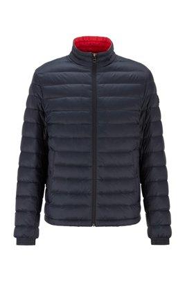 Packable down jacket in lightweight water-repellent fabric, Dark Blue