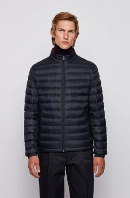Packable down jacket in lightweight water-repellent fabric, Dark Blue