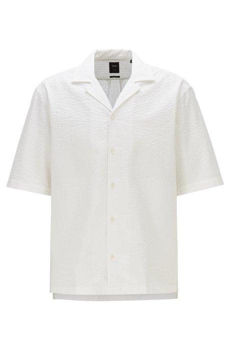 Regular-fit shirt in cotton-silk seersucker, White