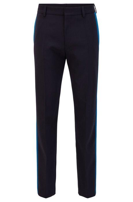 Pantalon Relaxed Fit en laine stretch avec coutures latérales contrastantes, Bleu foncé