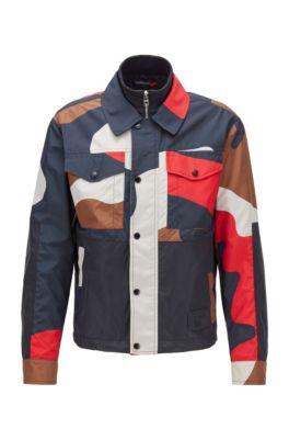 Regular-Fit Camouflage-Jacke aus Ripstop mit Doppelkragen, Rot