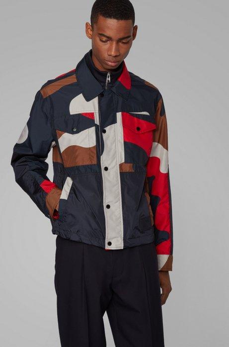 Veste camouflage Regular Fit à double col, Rouge
