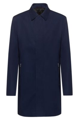Slim-fit mantel met gespiegeld logo aan de binnenkant, Donkerblauw