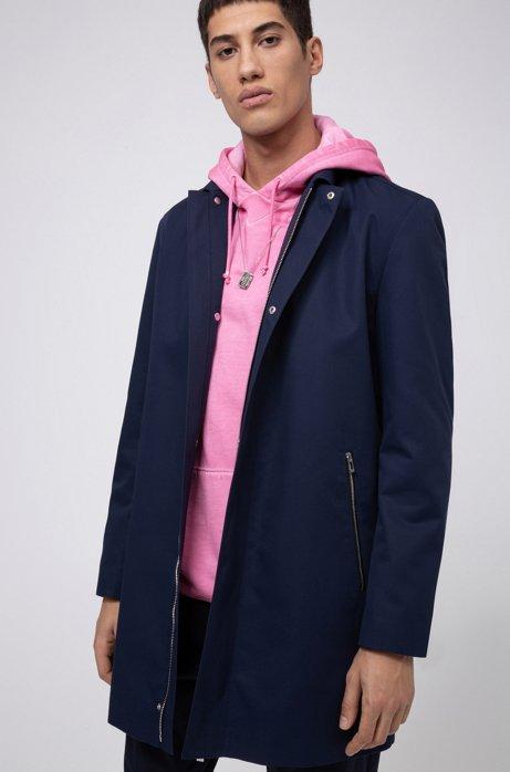 Slim-Fit Mantel aus Twill mit spiegelverkehrtem Logo innen, Dunkelblau
