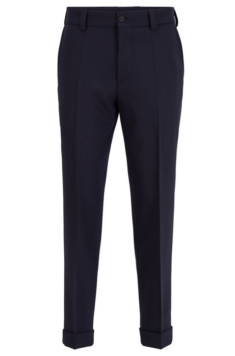 Relaxed-fit cropped trousers in stretch virgin wool, Dark Blue