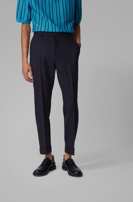 Relaxed-Fit Hose aus Stretch-Schurwolle in Cropped-Länge, Dunkelblau
