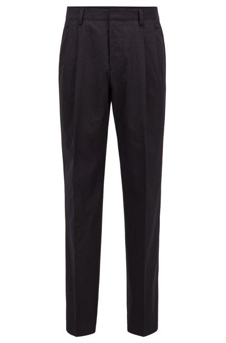 Relaxed-Fit Hose aus Baumwolle mit hohem Bund, Schwarz