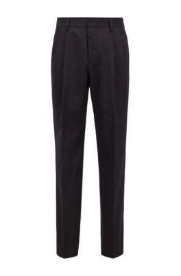 Relaxed-fit broek met hoge taille van katoen, Zwart