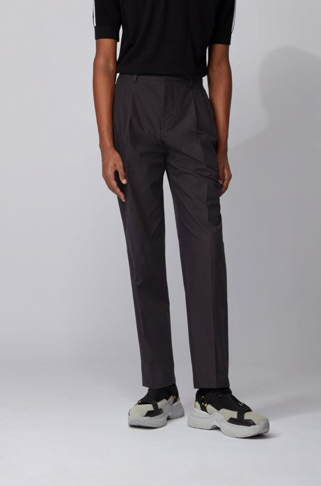Pantaloni relaxed fit a vita alta in cotone, Nero