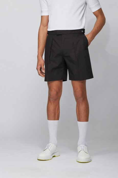 Relaxed-fit cotton shorts with adjustable waistband, Black