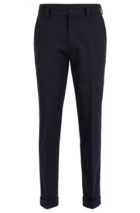 Relaxed-fit trousers in patterned cotton with cropped length, Dark Blue