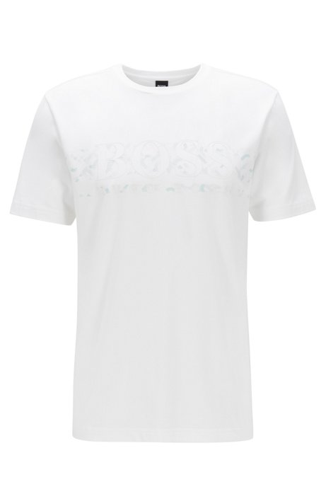 Stretch-cotton T-shirt with light-reactive logo print, White