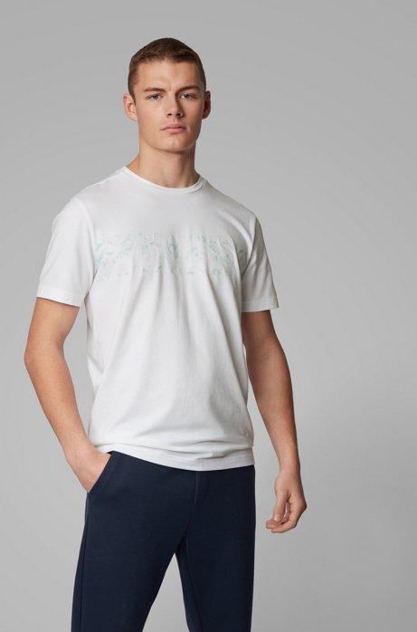T-shirt en coton stretch à logo imprimé réagissant aux UV, Blanc
